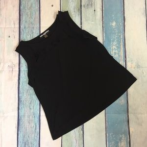 Karl Lagerfeld Black Ruffle Sleeveless Tank Top XL